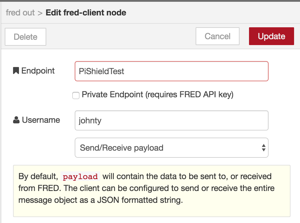node-red FRED server connection – Infusion Systems